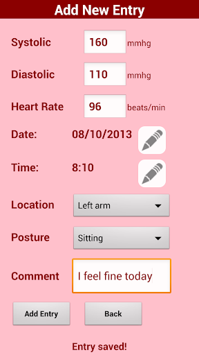 Blood pressure diary - free