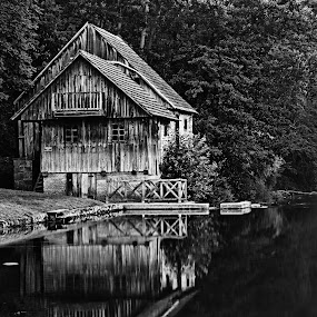 Water mill by Matevz Skerget - Buildings & Architecture Decaying & Abandoned ( water, mill, b&w, black white, river )