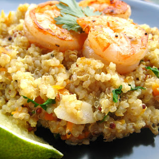 Coconut-Ginger Quinoa with Carrots and Shrimp.