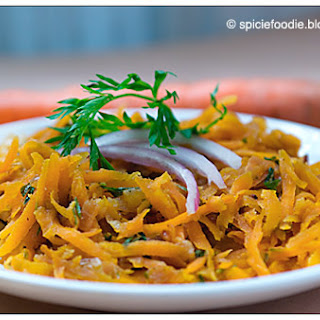 Warm Shredded Carrot Salad with Carrot Greens.