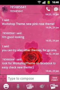 GO SMS Theme Pink Rose Cute screenshot 3