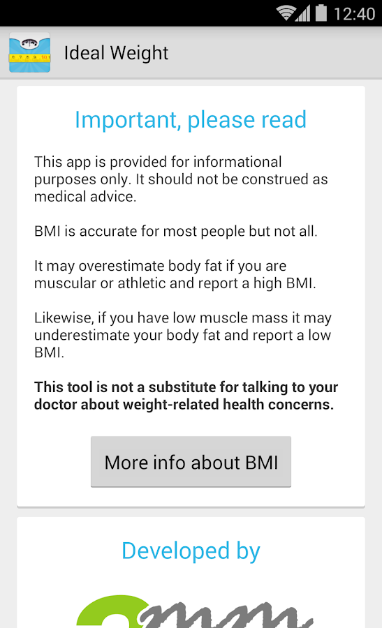 Ideal Weight, BMI Calculator- screenshot