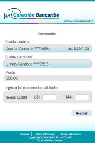 Mi Conexión Bancaribe - screenshot
