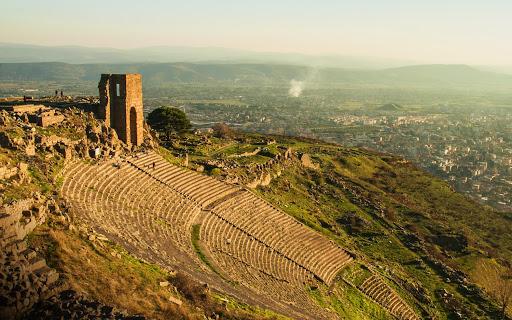 The ruins of the theater in Pergamon, near Bergama, Turkey.