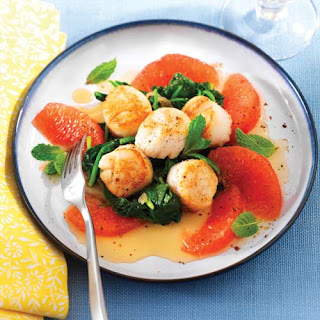 Scallops with Wilted Spinach, Grapefruit and Mint.