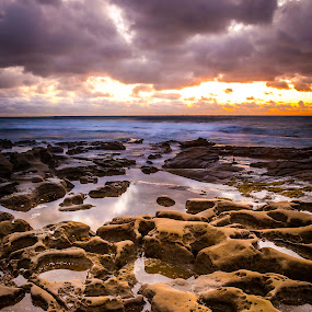 Hospital Reef 3 by Clifford Swall - Landscapes Beaches ( water, stormy beach, la jolla cove, potholes la jolla, long exposure beach, sea, long exposure, ocean, beach, rocks, potholes, hospital reef )