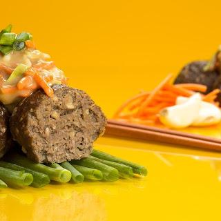 Asian Meatballs with Thai Peanut Slaw