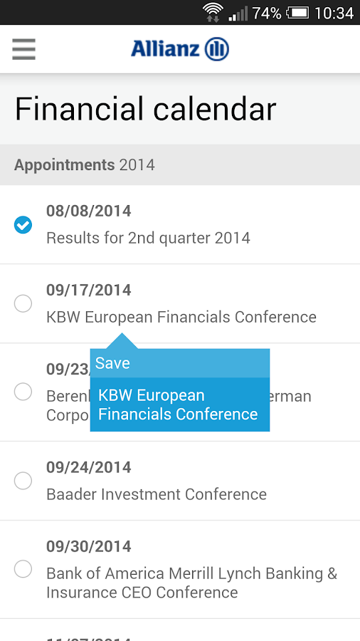 Allianz Investor Relations- screenshot