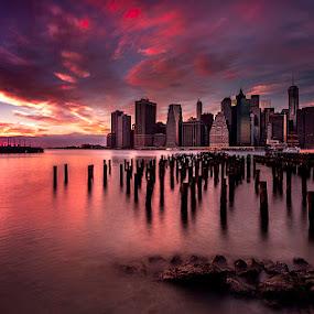 [[..|.]] by Alexandru Popovski - City,  Street & Park  Skylines ( sky, sunset, manhattan, skylines, architecture, new york, hudson, brooklyn )
