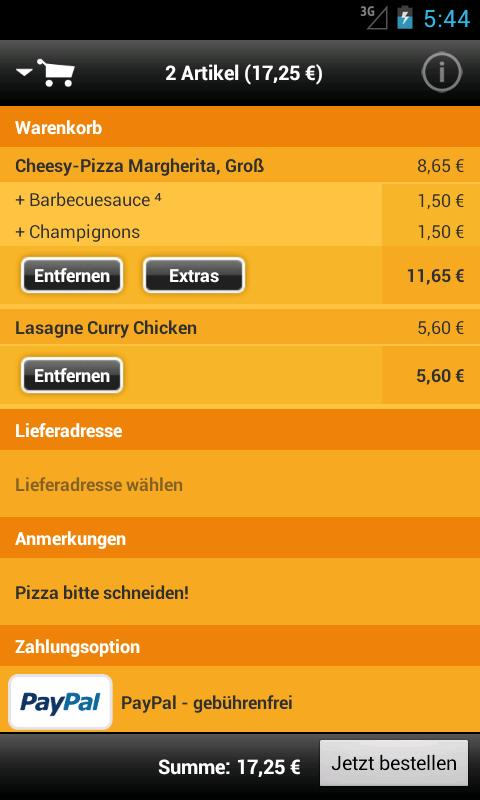 pizza.de - Essen bestellen - screenshot