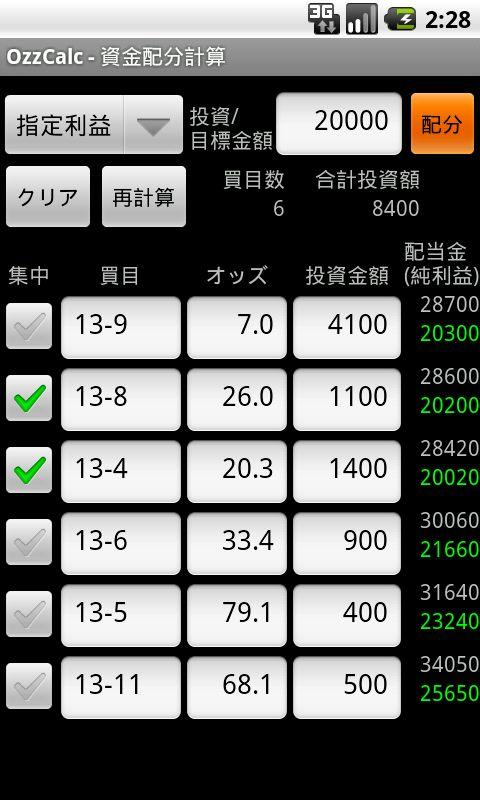 馬券電卓 OzzCalc- screenshot