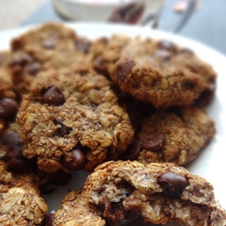 Healthy Energy Chocolate Chip-Banana-Coconut Oatmeal Cookies.