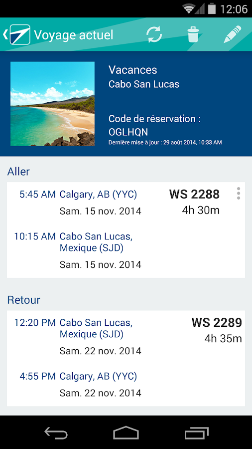 WestJet - screenshot