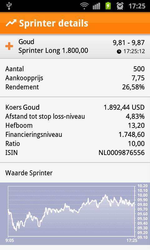 ING Sprinter app - screenshot