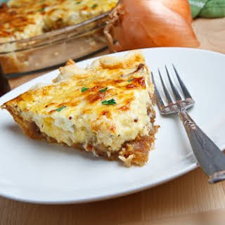 Guinness Braised Onion and Aged White Cheddar Quiche.