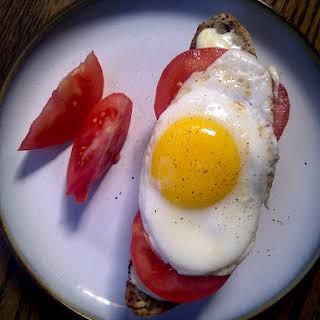 Tomato, Brie and Egg Crostini.