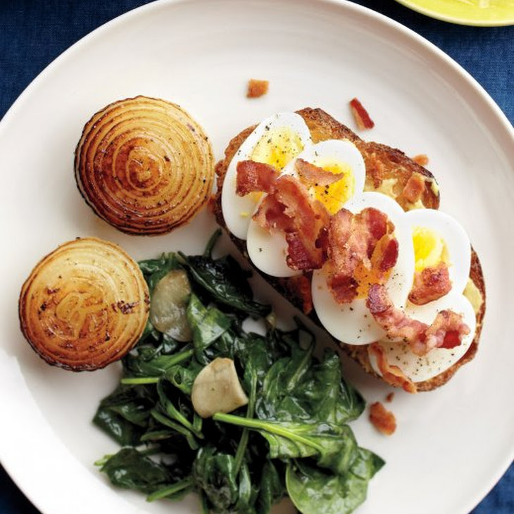 Egg-Bacon Toasts with Onions and Spinach Recipe