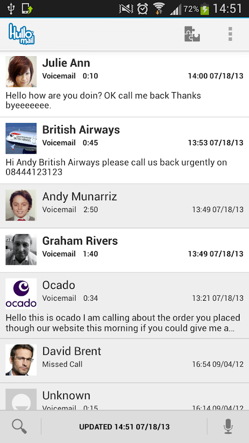 HulloMail Free Smart Voicemail - screenshot
