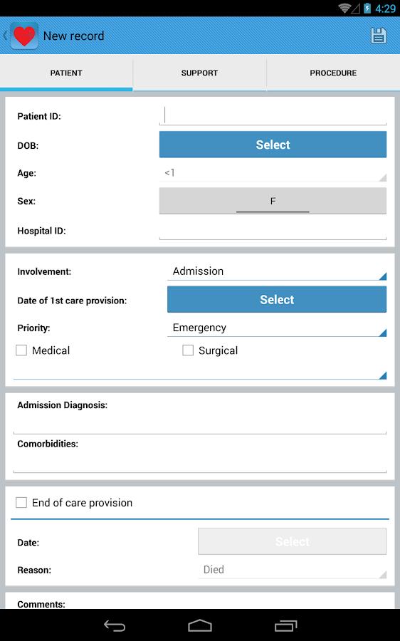 Intensive Care Logbook - screenshot