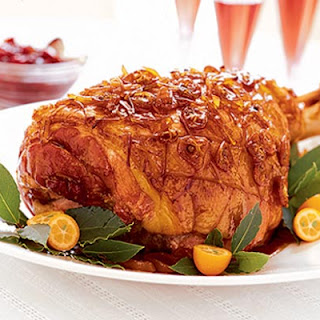 Christmas Ham With Sticky Ginger Glaze.