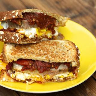 Pork and Eggs Breakfast Sandwich.