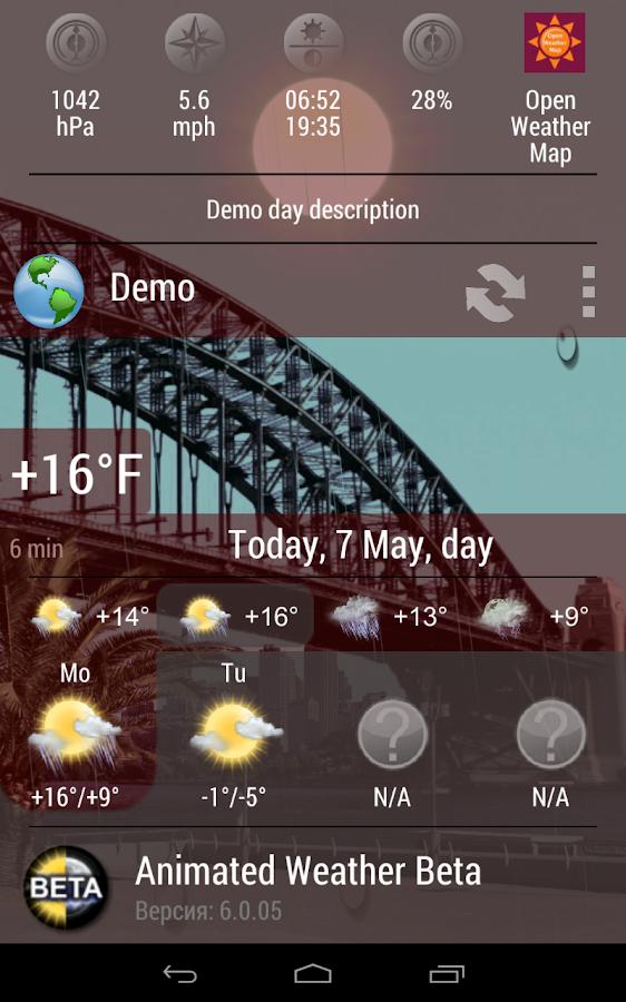 Animated Weather Widget&Clock - screenshot