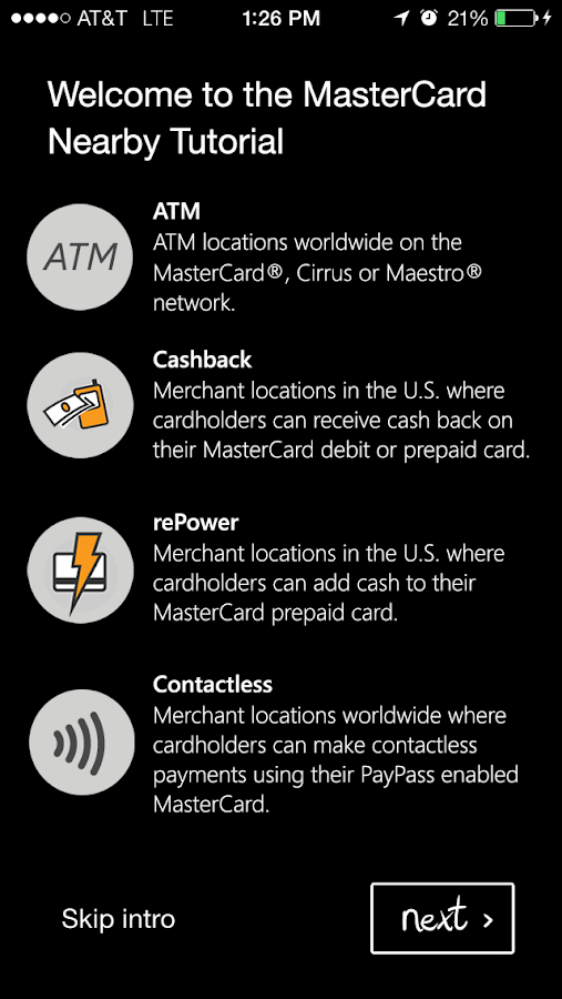MasterCard Nearby - screenshot