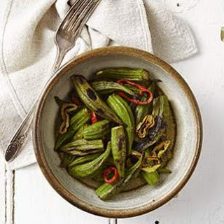 Grilled Okra & Hot Peppers.