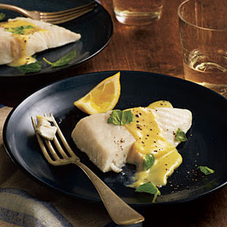 Basil-Steamed Halibut with Lemon Crème Sauce.