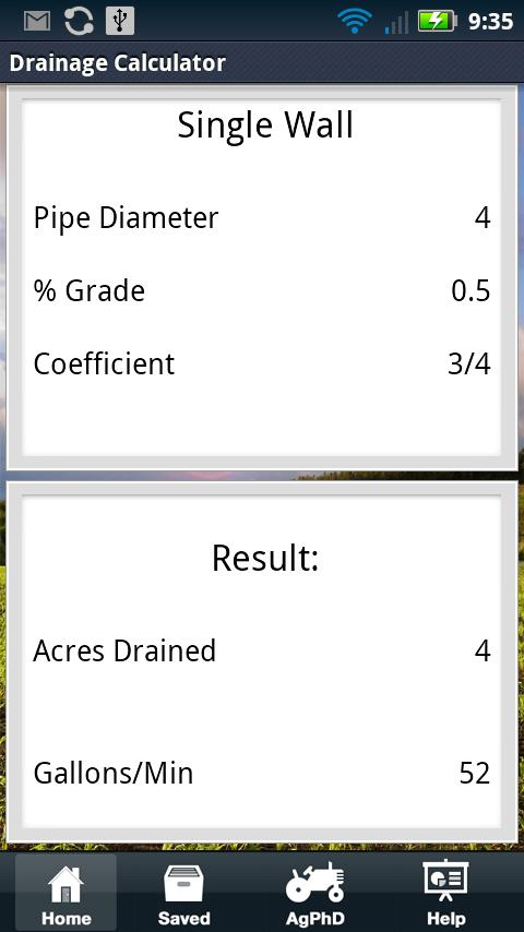 Drainage Tile Calculator - screenshot
