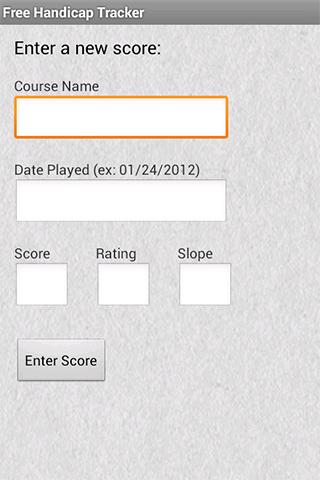Free Handicap Tracker - screenshot