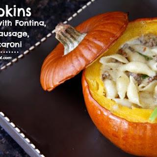 Pumpkin Stuffed with Fontina, Italian Sausage, and Macaroni