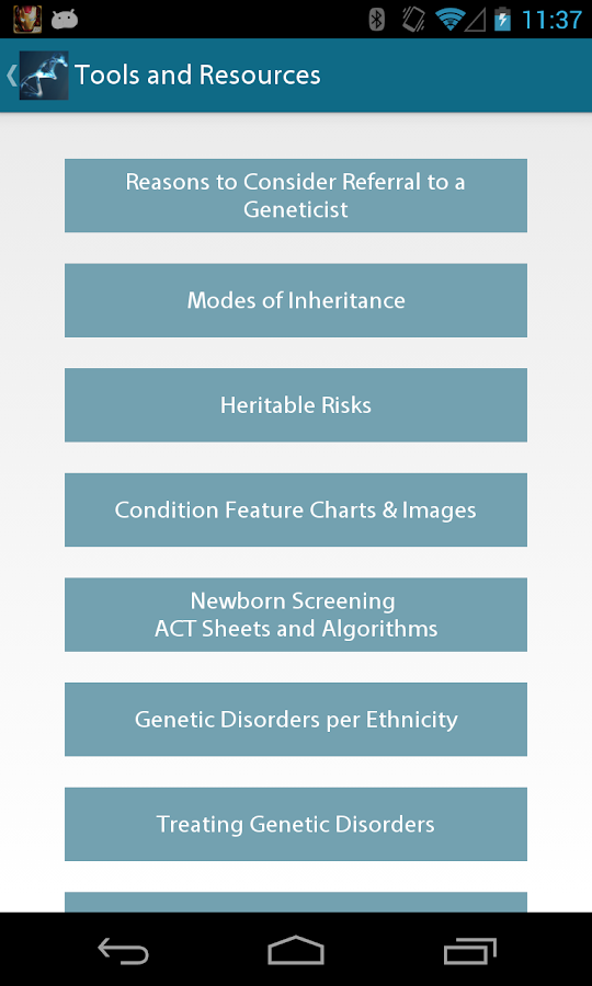 PediaGene: AAP Genetics Guide- screenshot