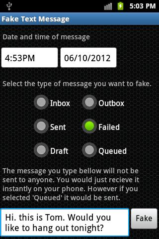Fake Text Message - screenshot