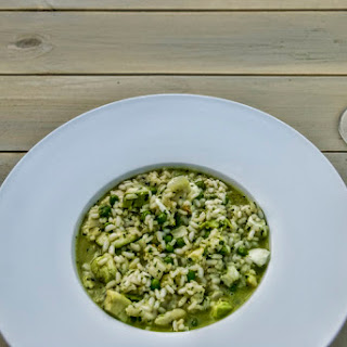 Pea, Mozzarella And Smoked Avocado Risotto