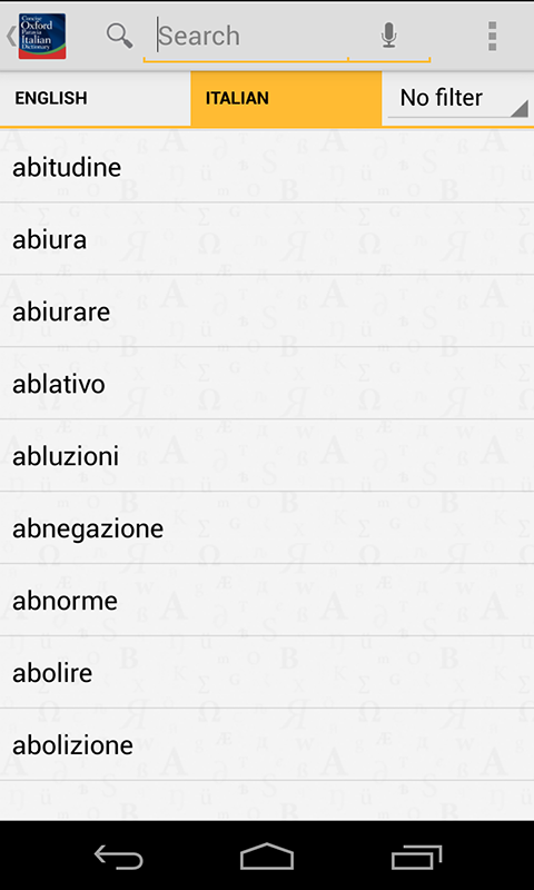 Concise Oxford Italian Dict - screenshot