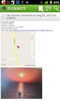 Screenshot of Car Locator Evernote Plugin