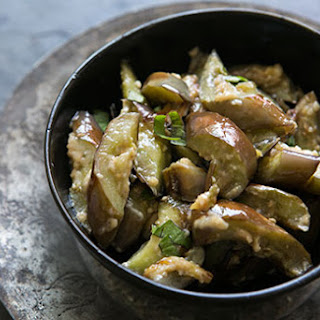 Stir Fried Japanese Eggplant with Ginger and Miso.