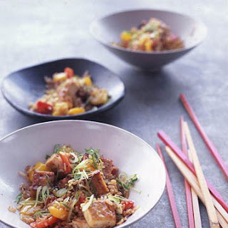 Brown Rice Stir-Fry with Flavored Tofu and Vegetables.