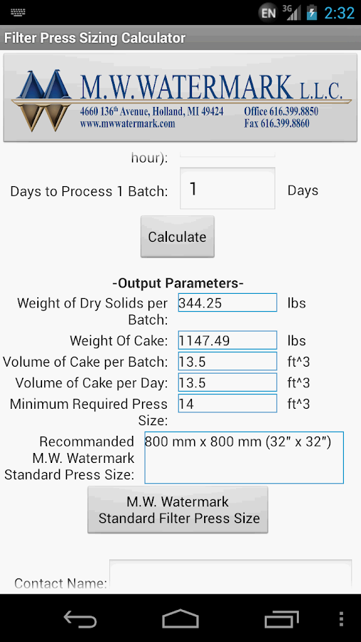 Filter Press Sizing Calculator Android Apps On Google Play