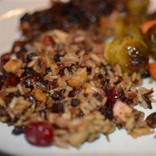 Rice Stuffing with Apples, Herbs, and Bacon.