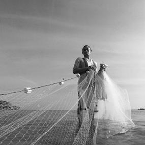 Fisherman by Asep Dedo - Black & White Portraits & People