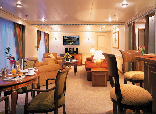 Owners_Suite_Silver_Shadow_Whisper-1 - The Owner's Suite on Silver Whisper is stylishly appointed. It's available as a single bedroom or as a two-bedroom configuration when adjoined with a Vista Suite.