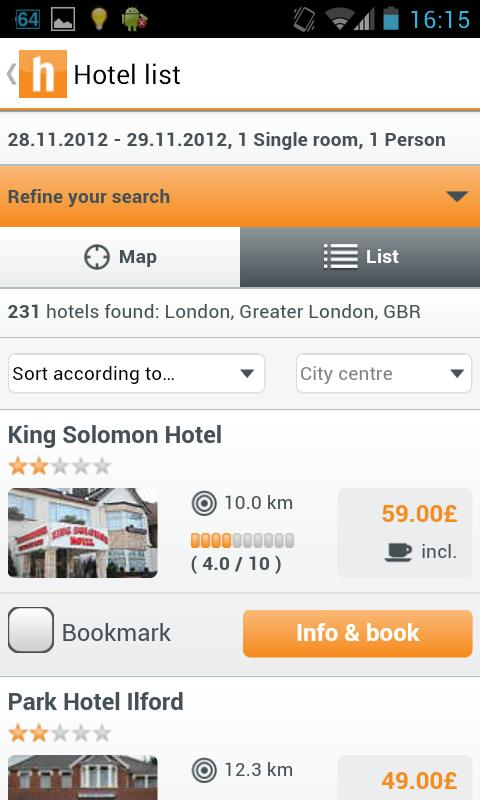 hotel.info - 250,000 hotels - screenshot