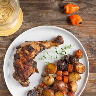 Roasted Jerk Chicken with Carrots and Potatoes.