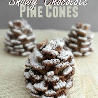 SNOWY CHOCOLATE PINE CONES.