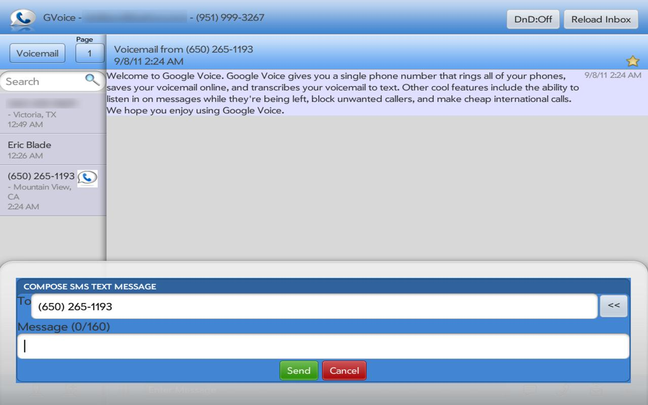 SynerGV- Google Voice™ SMS/Mgr - screenshot