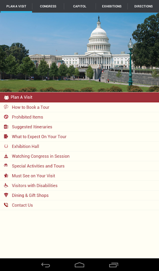 U.S. Capitol Visitor Guide- screenshot