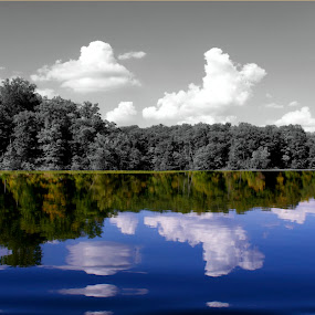 A Day at the Lake by Ty Shults - Landscapes Waterscapes ( clear, water, reflection, blue sky, black & white, glass, trees, canoe )