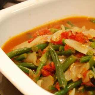 Braised Green Beans with Tomatoes and Onions.